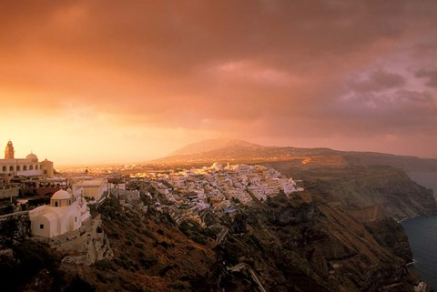 Framed Town View at Dawn, Thira, Santorini, Cyclades Islands, Greece Print