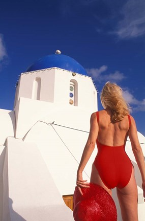 Framed Woman in Swimsuit, Fira, Santorini, Greece Print