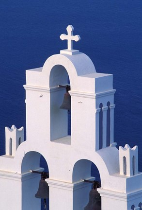 Framed Coastal Bell Towers, Santorini, Greece Print