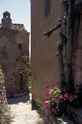 Framed Narrow cobblestone Pathway, Monemvasia, Greece Print