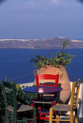 Framed Terrace with Sea View, Santorini, Greece Print