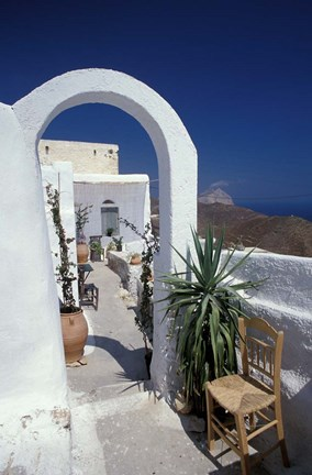 Framed Chora Houses, Blue Aegean Sea, and Agave Tree, Cyclades Islands, Greece Print