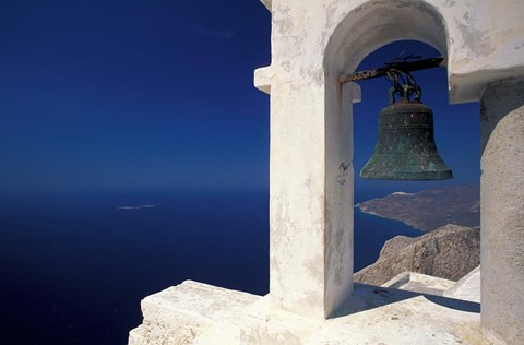 Framed Panagia Kalamiotissa Monastery Bell Tower, Cyclades Islands, Greece Print