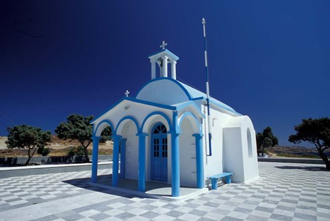Framed Agios Nicoolaos Church and Checkered Pavement, Cyclades Islands, Greece Print
