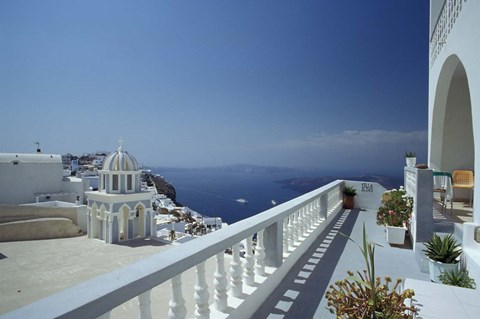 Framed Thira and the Caldera, Santorini, Cyclades Islands, Greece Print