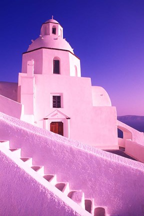Framed White Dome of Greek Church, Santorini, Greece Print