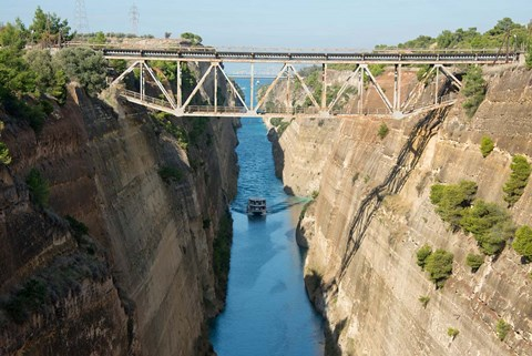 Framed Greece, Corinth Boat in Corinth Canal Print