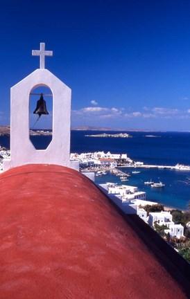 Framed Greek Orthodox Church and Harbor in Mykonos, Greece Print