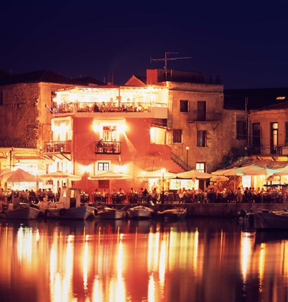 Framed Harborside Restaurants at Night, Old Town, Rethymnon, Western Crete, Greece Print