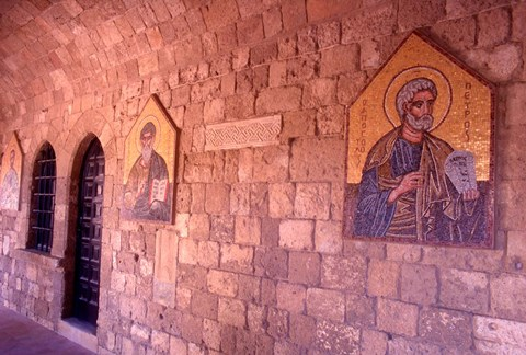Framed Wall Mosaics in the Cloister, Filerimos Monastery, Rhodes, Dodecanese Islands, Greece Print
