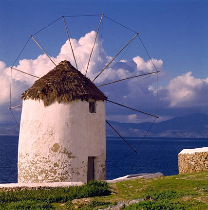 Framed Greece, Mykonos, Windmill looks over Azure Sea Print