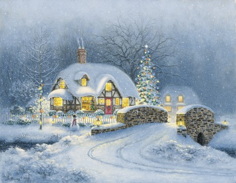 Christmas At Kirby Cottage Fine Art Print By Richard Burns