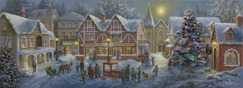 Christmas Village Panoramic Fine Art Print By Nicky Boehme