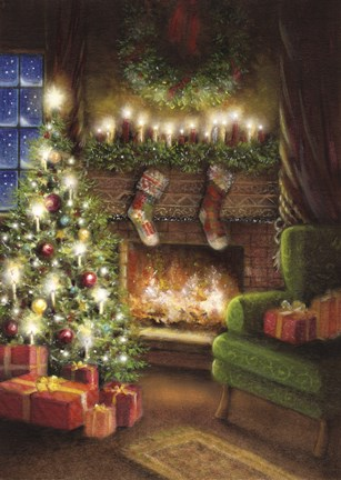 Christmas By The Fireplace Fine Art Print by DBK Art