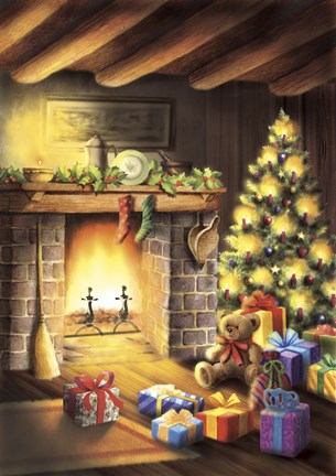 Framed Gift Bear and Christmas By The Fireplace Print