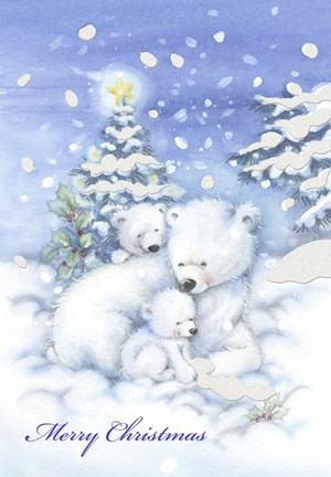 Merry Christmas Polar Bears Fine Art Print By Dbk Art