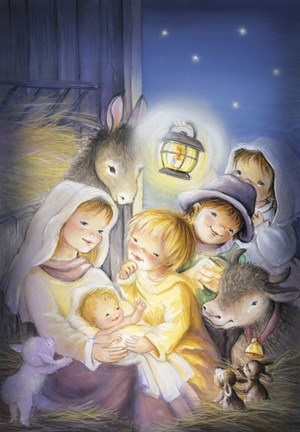 Mary And The Animals Manger Scene Fine Art Print By Dbk
