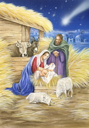 Framed Mary and Joseph In Straw Manger Scene Print