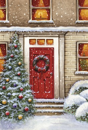 Framed Red Door and Christmas Wreath Print