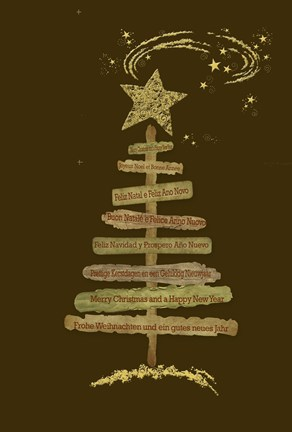 Framed Merry Christmas Multilingual Text Tree Print