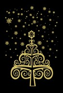 Black and Gold Holiday Tree  Fine Art Print