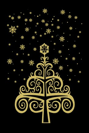 Framed Black and Gold Holiday Tree Print