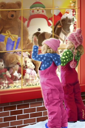 Framed Christmas Toy Window Shopping Print