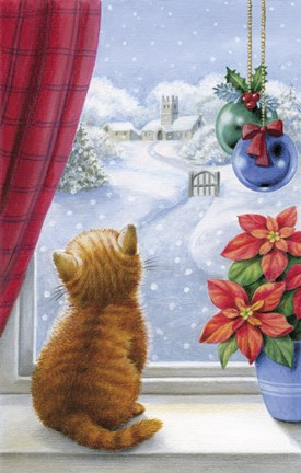 Framed Kitten Christmas With Pointsettia Print