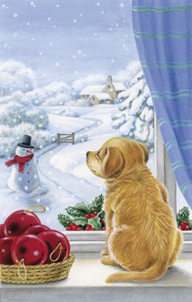 Framed Puppy With Snowman and Mistletoe Print