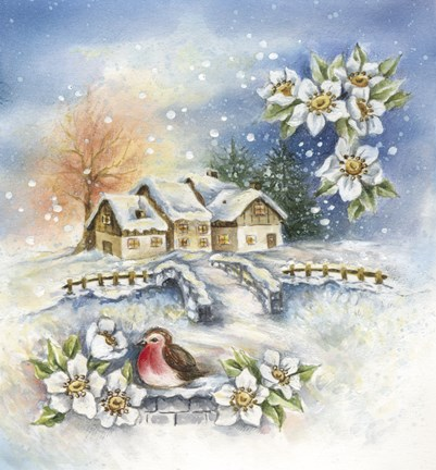 Framed Bird Flowers and Winter Village Print