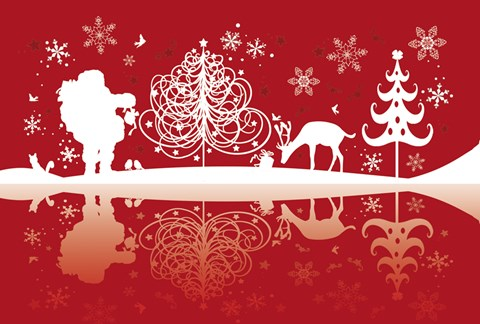 Framed Red and White Santa and Deer Silhouette Print