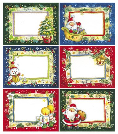 Framed Santa and Snowman Chirstmas Gift Cards II Print