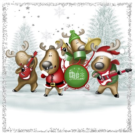 Framed Tis The Season Holiday Deer Band Print