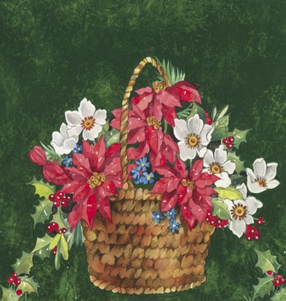 Framed Pointsettia and Mistletoe Holiday Basket Print