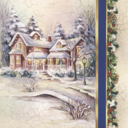 Framed Winter House With Snow and Mistletoe Print