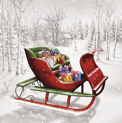 Framed Christmas Sleigh In The Wood Print