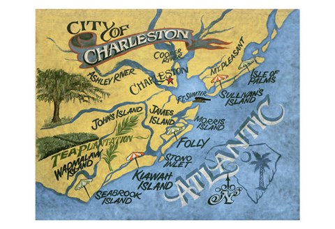 Framed Charleston, South Carolina Beach Map Print