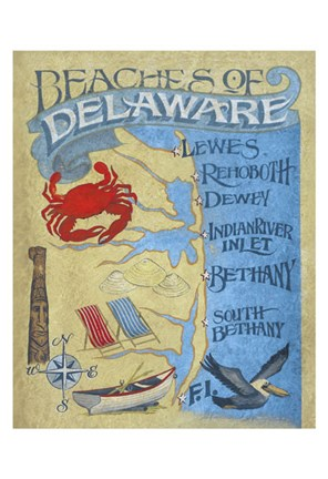 Framed Delaware Beach Map Print