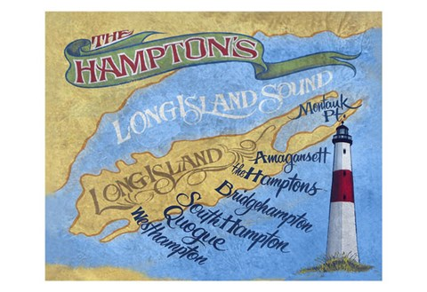 Framed Hamptons Beach Map Print