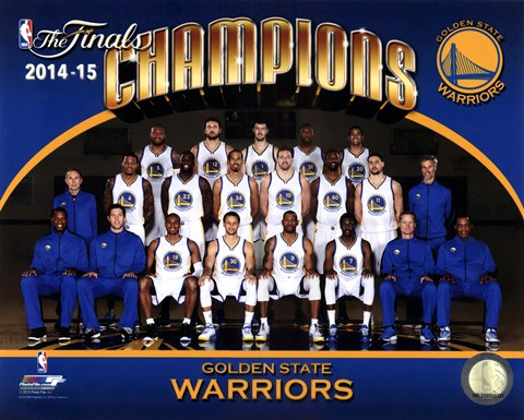 Framed Golden State Warriors 2015 NBA Finals Champions Team Sit Down Photo Print