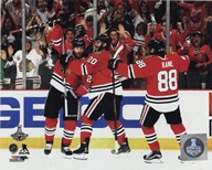 Duncan Keith, Brandon Saad, & Patrick Kane Goal Celebration Game 6 of the 2015 Stanley Cup Finals  Fine Art Print