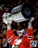 Brent Seabrook with the Stanley Cup Game 6 of the 2015 Stanley Cup Finals  Fine Art Print