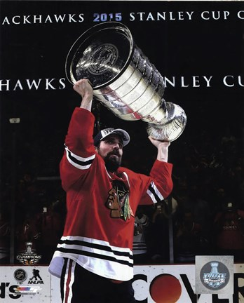 Framed Patrick Sharp with the Stanley Cup Game 6 of the 2015 Stanley Cup Finals Print