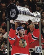 Patrick Kane with the Stanley Cup Game 6 of the 2015 Stanley Cup Finals  Fine Art Print