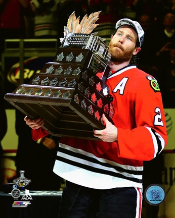 Framed Duncan Keith with the Conn Smythe Trophy Game 6 of the 2015 Stanley Cup Finals Print