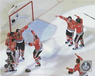 The Chicago Blackhawks celebrate winning Game 6 of the 2015 Stanley Cup Finals  Fine Art Print