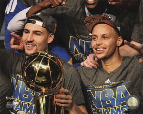 Framed Klay Thompson & Stephen Curry with the NBA Championship Trophy Game 6 of the 2015 NBA Finals Print