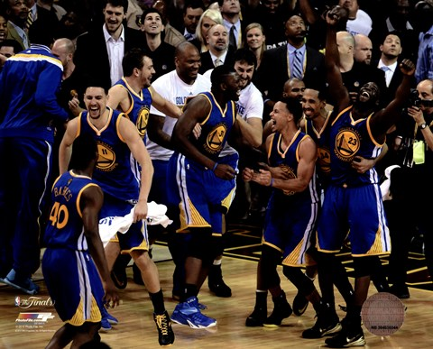 Framed Golden State Warriors celebrate winning Game 6 of the 2015 NBA Finals Print