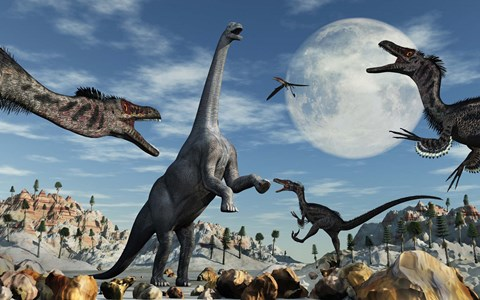 Framed Lone Camarasaurus Dinosaur is Confronted by a Pack of Velociraptors Print