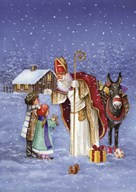 Saint Nicholas And The Children  Fine Art Print